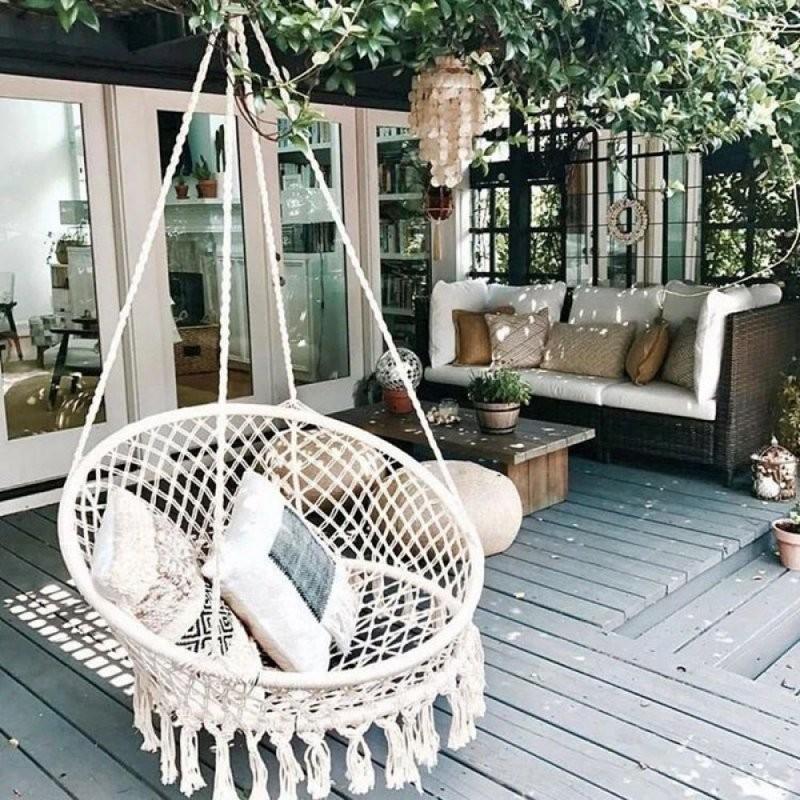 Nordic Style Handmade Knitted Round Hammock Outdoor Indoor Dormitory von Round Porch Swing Bed Bild