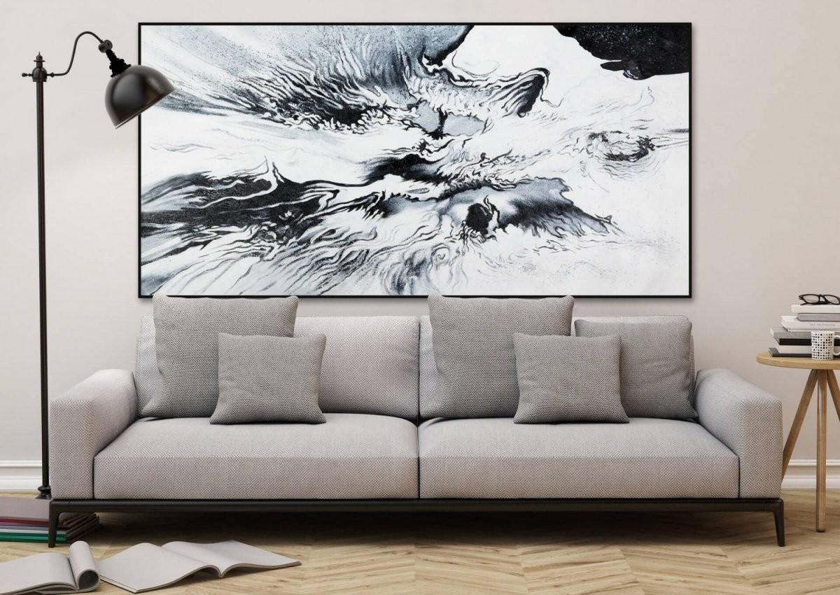 Öl Gemälde 'abstrakt Sturm Schwarz Weiss Xxl'  Handgemalt von Leinwandbilder Schwarz Weiß Xxl Photo