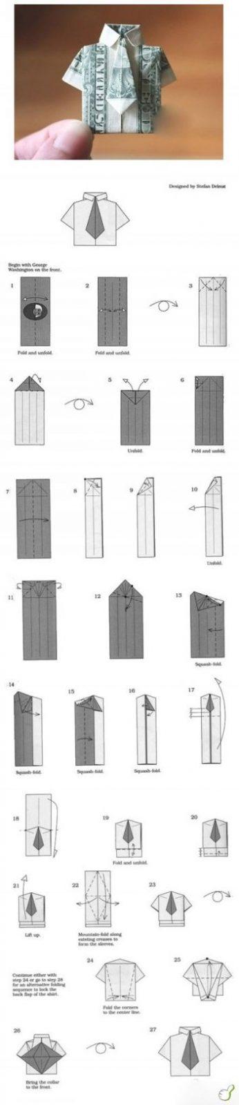 Origami Geldgeschenk Hemd Mit Krawatte  Basteln  Geldschein von Origami Hemd Mit Krawatte Bild