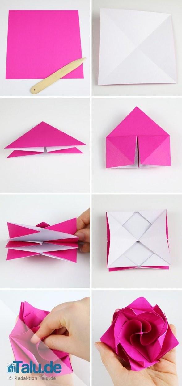 Origami Rose Aus Papier Falten  Diyanleitung  Diyideen  Basteln von Rose Basteln Papier Anleitung Photo
