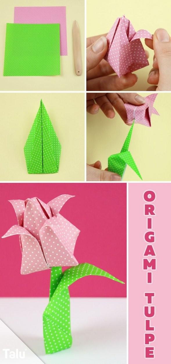 Origami Tulpe Falten  Diyanleitung Zum Ausdrucken  Origami von Einfache Blumen Falten Anleitung Bild