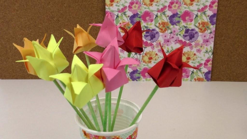 Origami Tulpen Diy  Blumen Falten Anleitung  Deko Einfach Und von Einfache Blumen Falten Anleitung Photo
