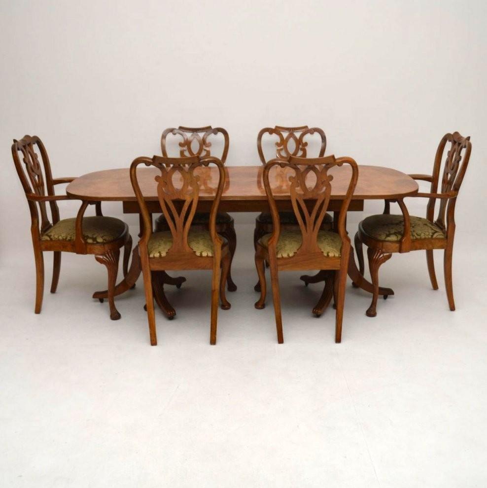 Original Antiker Massiver Nussbaum Esstisch Und 6 Stühle von Antiker Esstisch Mit Stühlen Photo