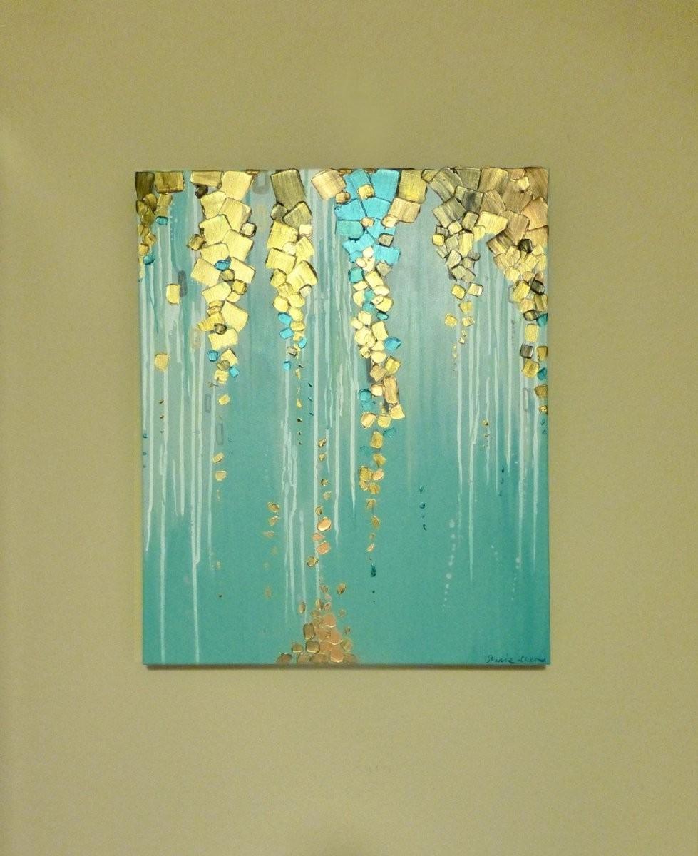 Original Moderne Abstrakte Malerei Auf Leinwand Metallisch von Bilder Leinwand Abstrakt Keilrahmen Bild