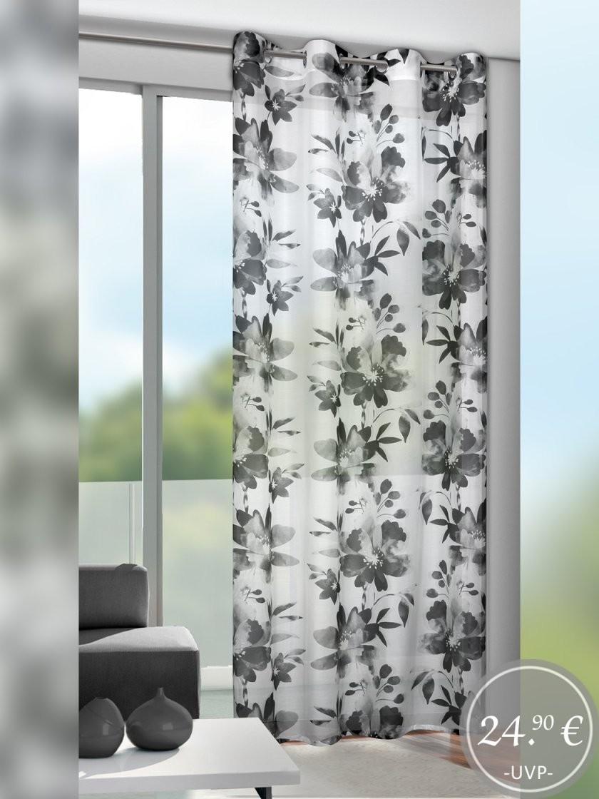 Ösenschal Floral  Schwarzweiss von Gardinen Schwarz Weiß Grau Photo