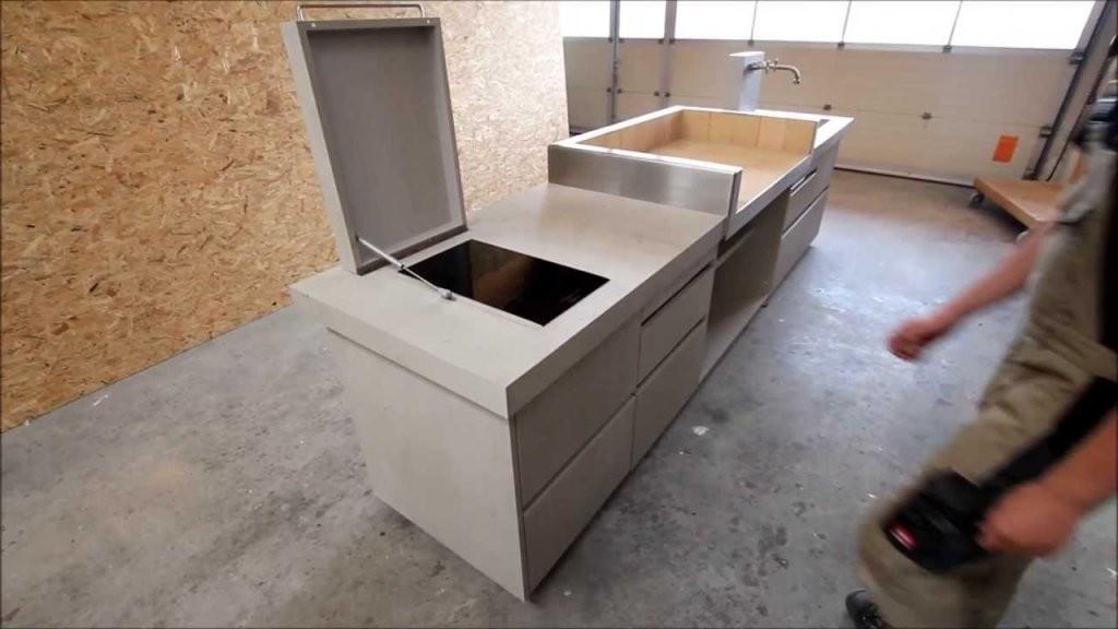 Outdoorküche In Betonoptik Von Wwwschreinereiaumueller  Youtube von Arbeitsplatte Betonoptik Selber Machen Bild