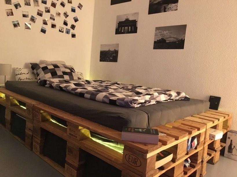 Palettenbett Mit Led Und Stauraum Selber Bauen Diy Bett von Palettenbett 140X200 Selber Bauen Photo