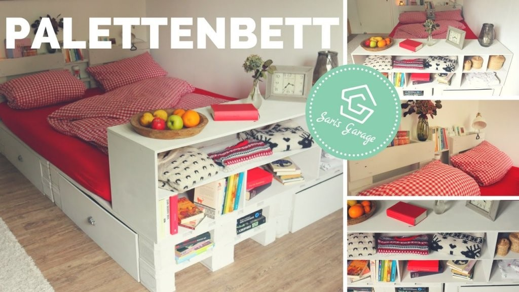 Palettenbett Selber Bauen  Bett Aus Europaletten Diy von Podest Bett Aus Paletten Bild
