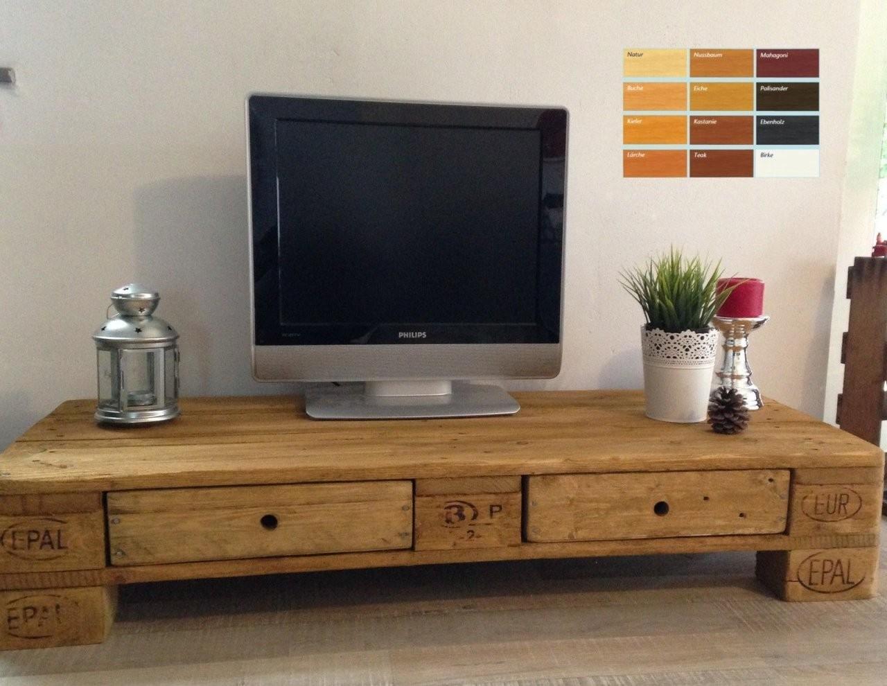 Palettenmöbel Europalette Tv Lowboard Tv Schrank Mit 2 Schubladen von Tv Möbel Selber Bauen Bild