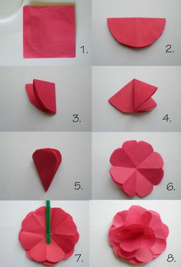 Papierblumenbastelnkindernfaltenorigamiblüterotpapier von Rose Basteln Papier Anleitung Bild