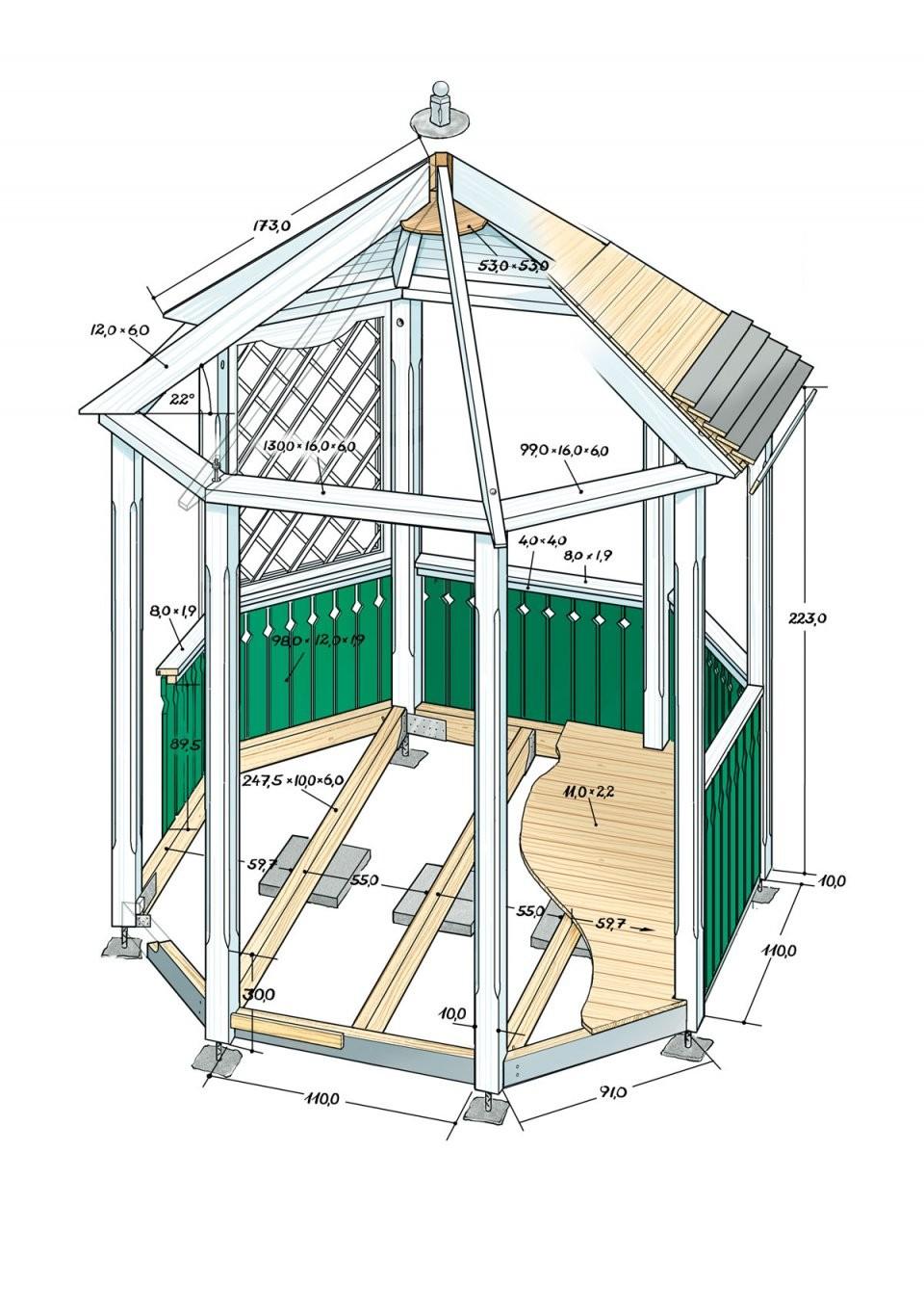 Pavillon Selber Bauen Anleitung von Holz Pavillon 3X3 Selber Bauen Bild
