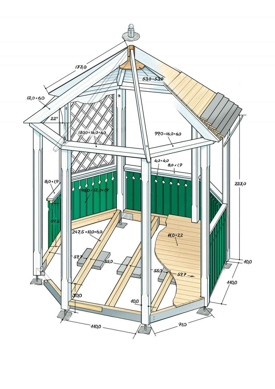Pavillon Selber Bauen Anleitung von Pavillon 8 Eckig Holz Bauanleitung Bild