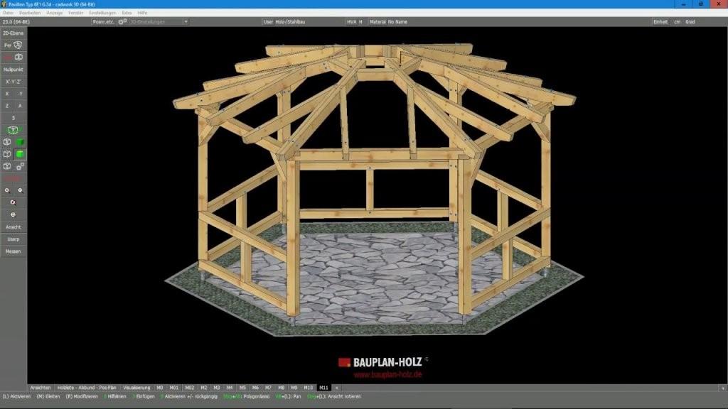 Pavillon Typ 6E1 G  Youtube von Pavillon 8 Eckig Holz Bauanleitung Bild