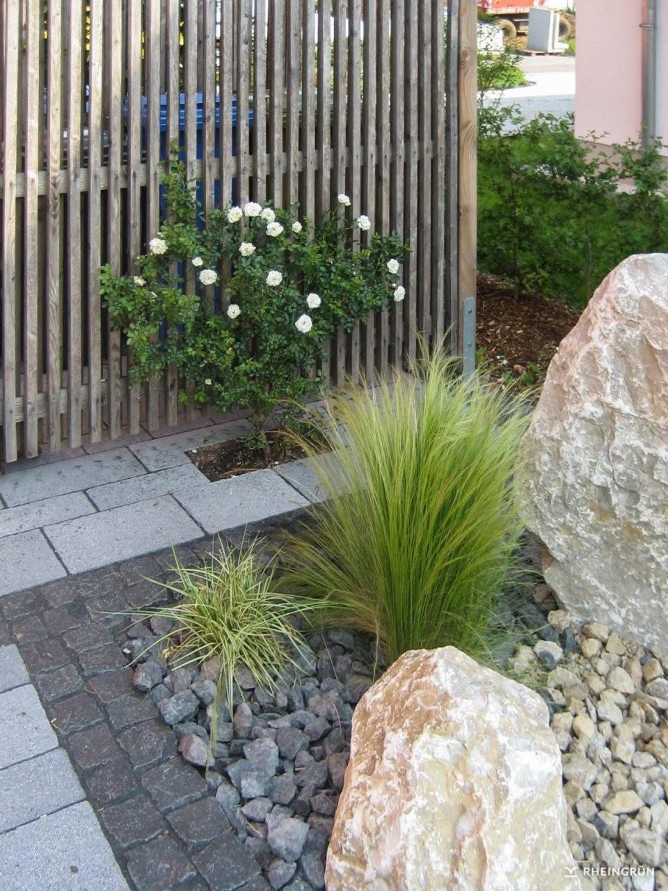 Pflegeleichter Vorgarten Mit Großen Steinen Und Gräsern  Japanische von Vorgarten Gestalten Mit Kies Und Gräsern Bild