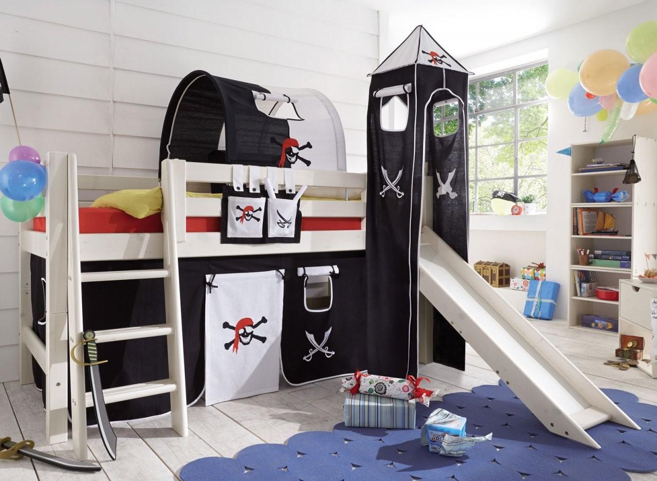 Piraten Minihochbett Mit Rutsche Kaufen  Seeräuber  Bettenat von Kinderhochbett Mit Rutsche Günstig Kaufen Photo