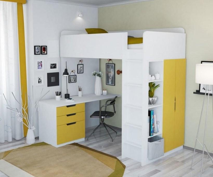 Polini Kids Kinder Hochbett Mit Kleiderschrank Und  Real von Schrank Mit Integriertem Schreibtisch Bild