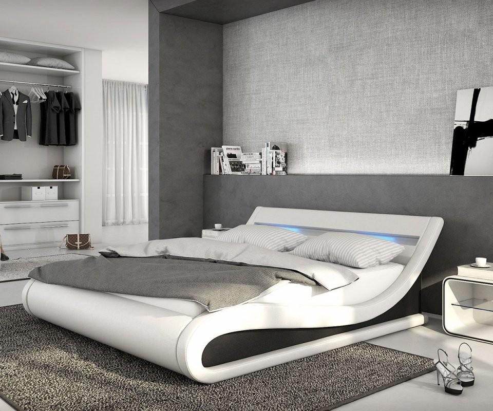 Polsterbett Belana 140X200 Cm Weiss Schwarz Mit Led Möbel Betten von Hochglanz Bett Weiß 140X200 Bild