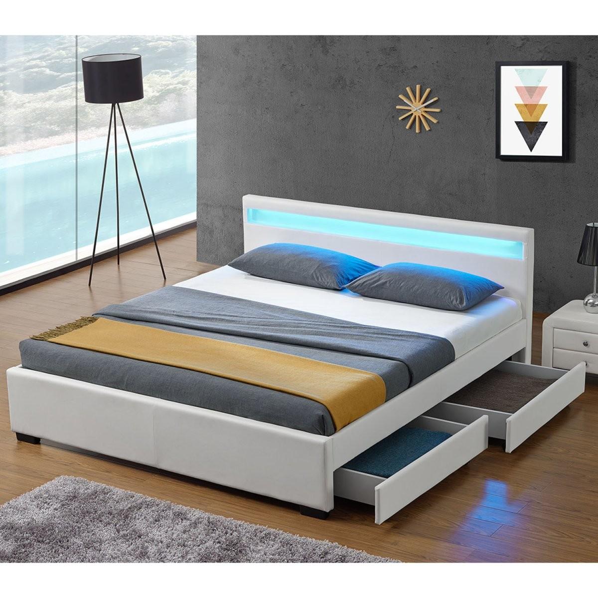 Polsterbett Lyon Mit Bettkasten 140 X 200 Cm  Weiß von Bett Mit Aufbewahrung 140X200 Bild