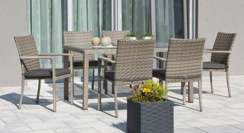 Preissturz  Garten Sitzgruppe Rattan Braun 6 Gartenstühle Mit von Polyrattan Eckbank Mit Esstisch Bild