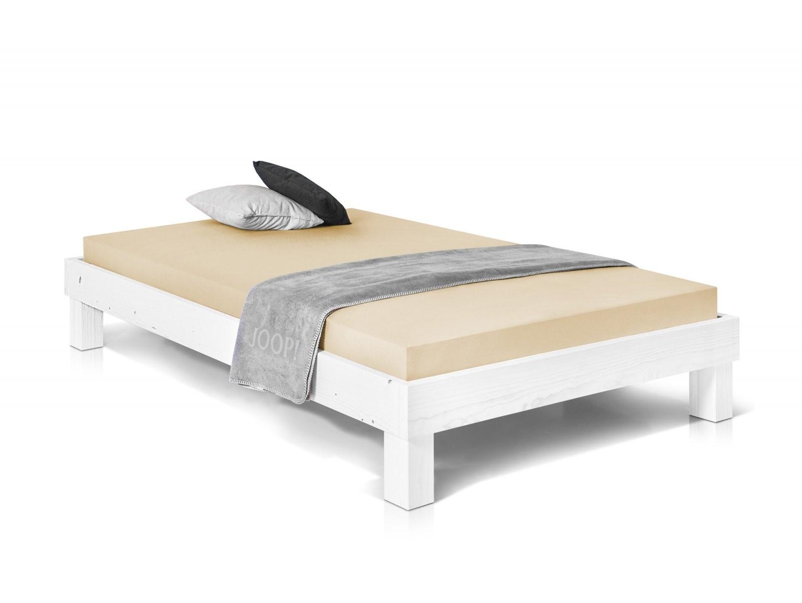 Pumba Singlebett Futonbett Bett 90X200 Massivholzbett Fichte Weiss von Bett Weiß Ohne Kopfteil Bild