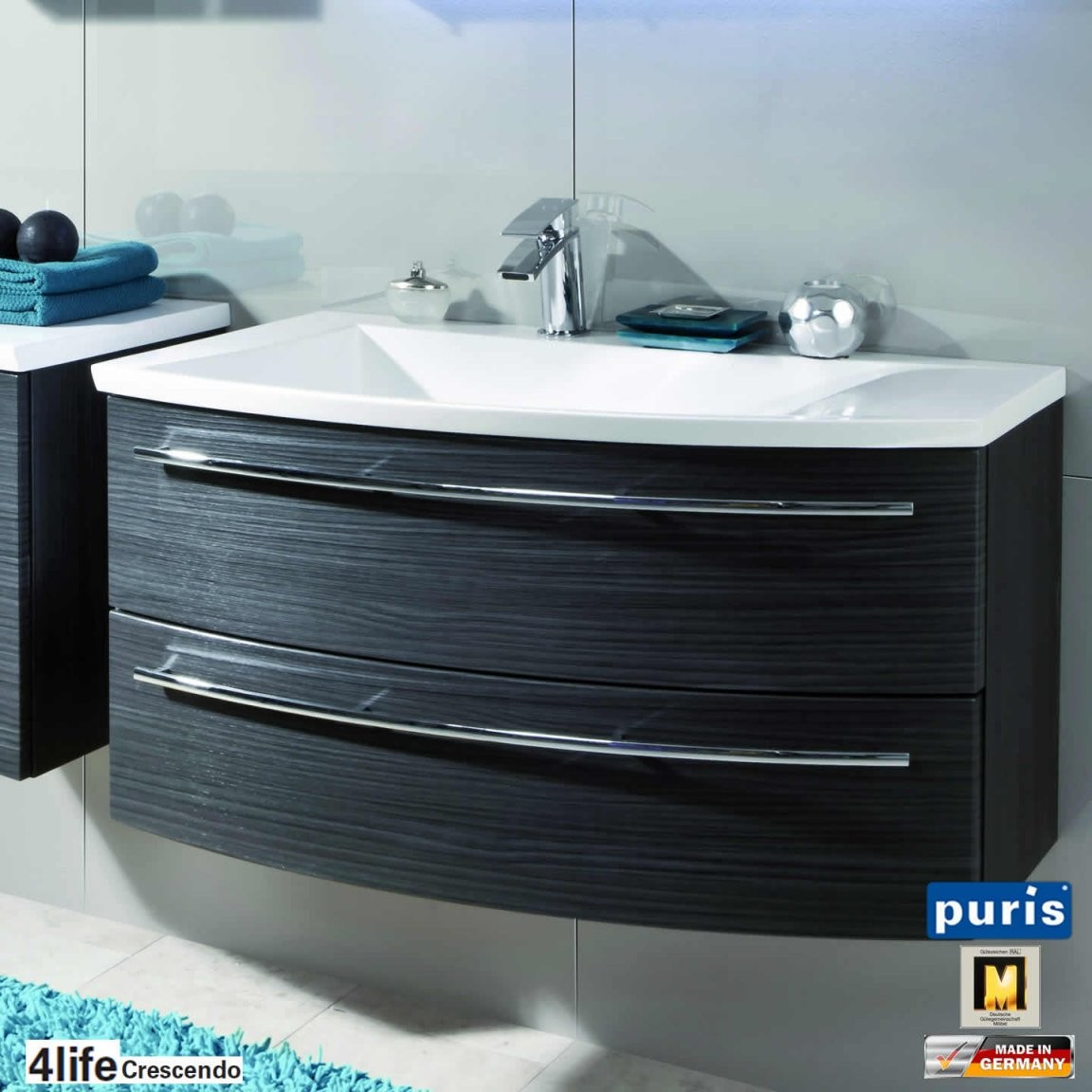 Puris Crescendo Badmöbel Als Waschtischset 90 Cm  Waschtisch von Badmöbel 90 Cm Breit Bild