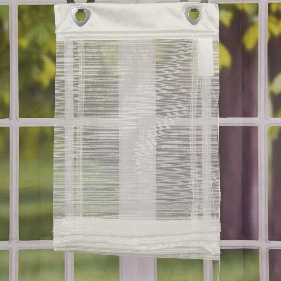Raffrollo Mit Fensterhaken Dünne Streifen Weiß 60X140Cm Gardinen von Rollo Mit Ösen Und Fensterhaken Photo