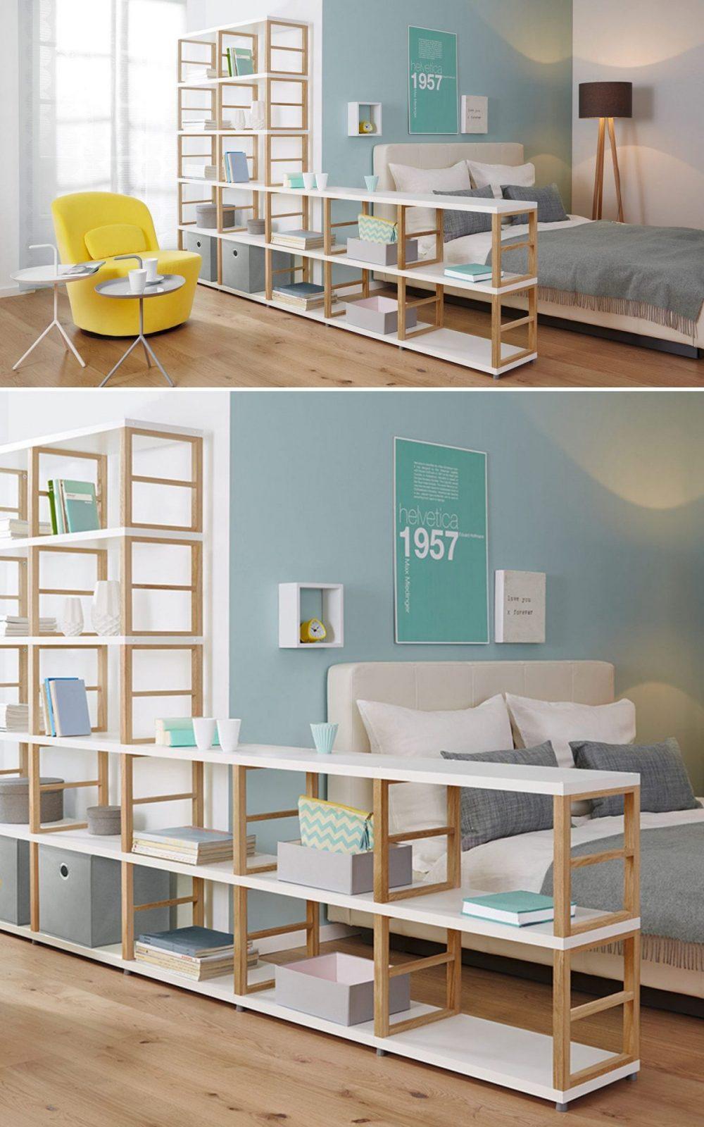 Raumteiler Regale  Ideen Fürs Wohnzimmer Und Arbeitszimmer In 2019 von Raumteiler Regal Selber Bauen Bild