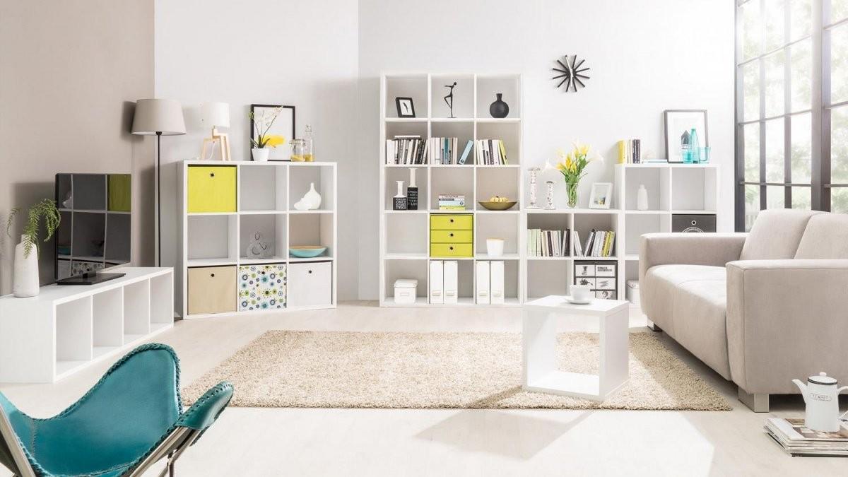Regal Säule 4Er Raumteiler In Weiß Dekor Mit 4 Fächern von Säule Im Wohnzimmer Gestalten Bild