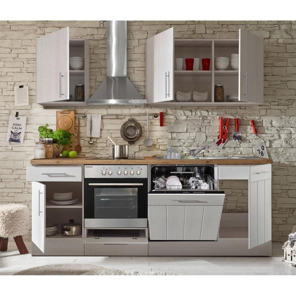 Respekta Premium Küchenzeile Landhaus 220 Cm Lärche Weiß Matt Kaufen von Küchenzeile 220 Cm Ohne Geräte Bild
