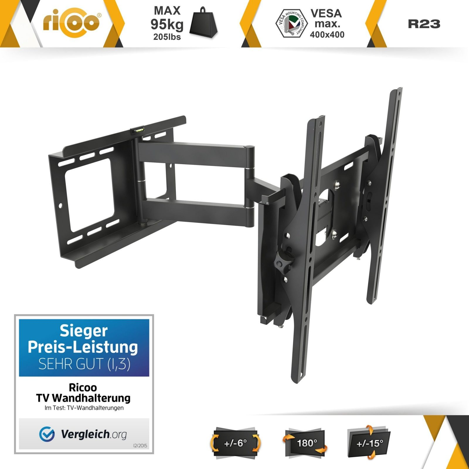 Ricoo Wandhalterung Tv Schwenkbar Neigbar R23 Universal Lcd von Tv Wandhalterung Test 2015 Bild