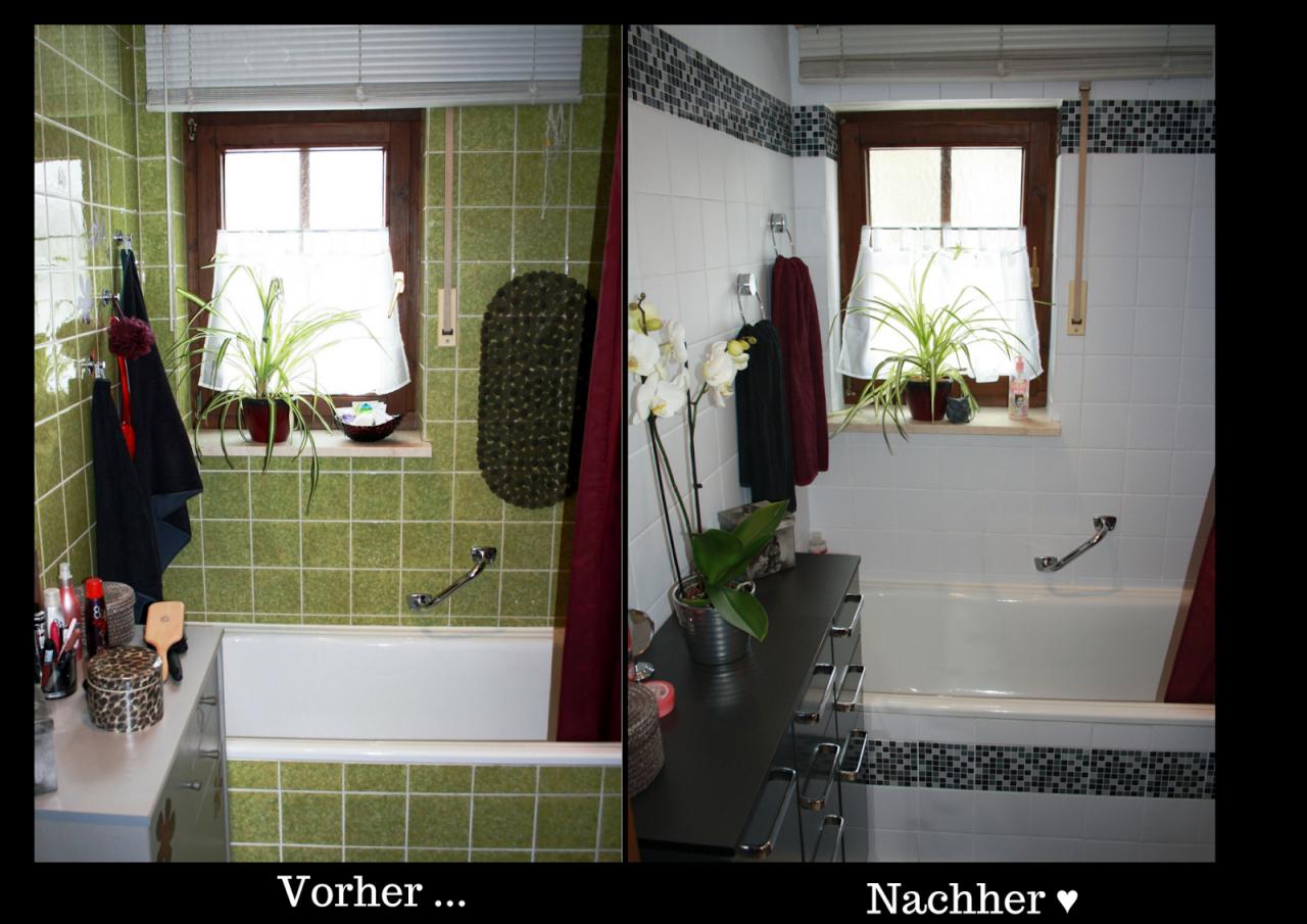 Rock And Owl Blog Aus Grün Mach Weiß Ich Kleb' Mir Ein Neues Bad ♥ von Fliesen Überkleben Vorher Nachher Bild