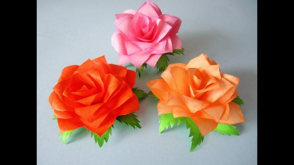 Rosen Aus Notizzettel  Youtube von Rose Basteln Papier Anleitung Bild