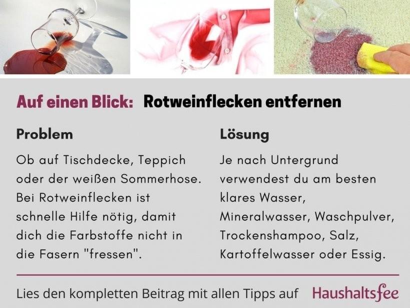 Rotweinflecken Entfernen – Hausmittel Die Wirklich Helfen  Flecken von Rotweinflecken An Der Wand Photo