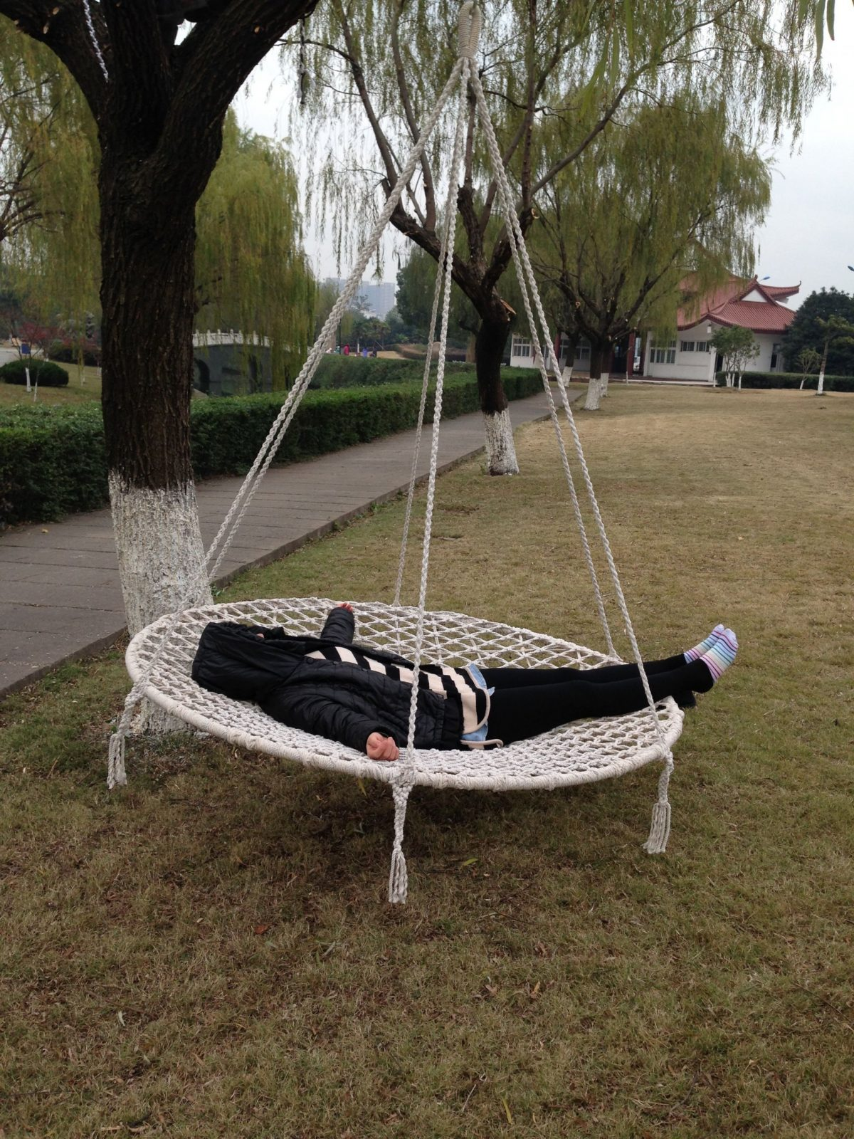Round Swingswing Chairswing Bedhanging Bedhanging Chair von Round Rattan Swing Bed Bild