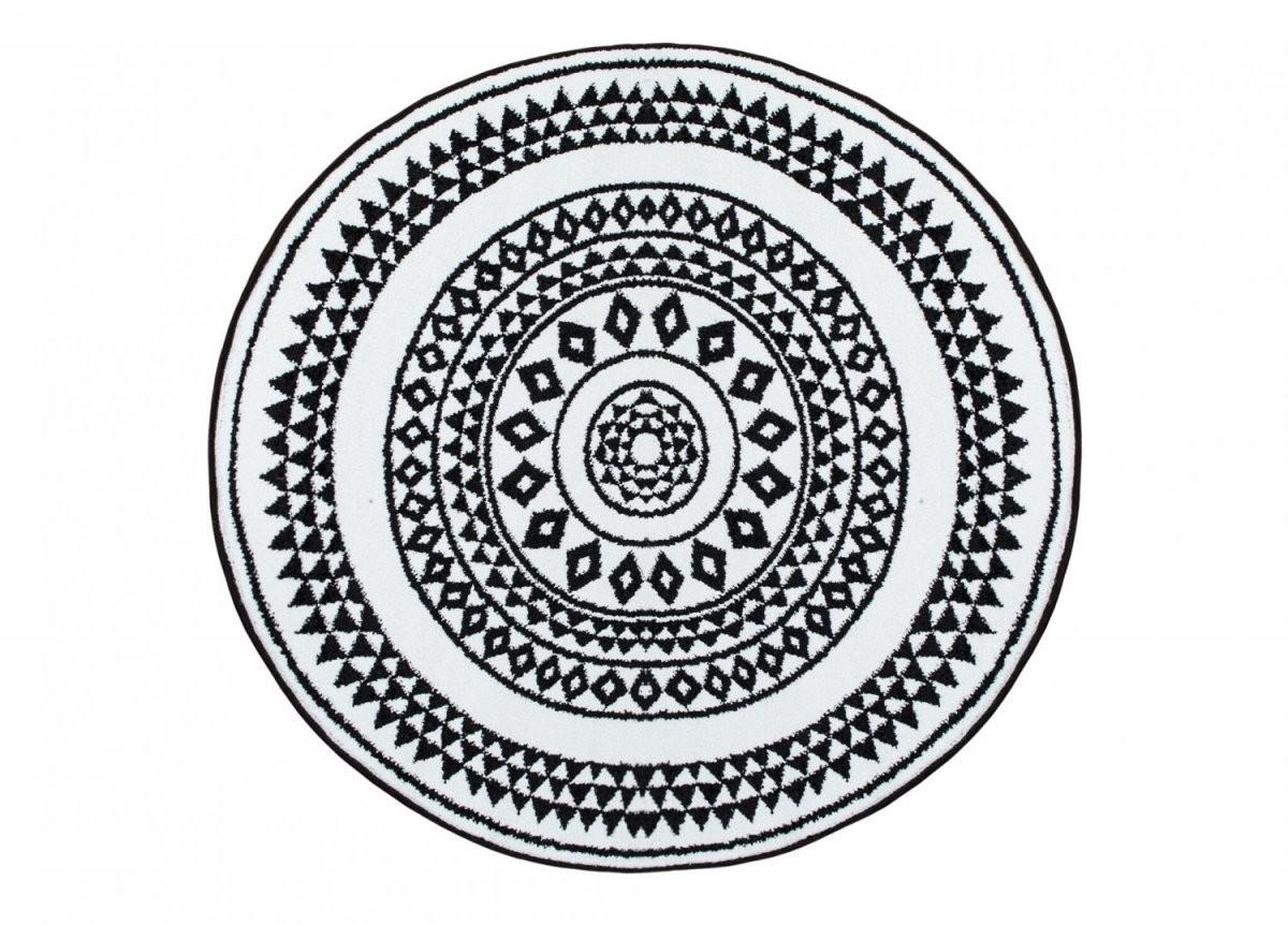 Rund Teppich 80 Cm  Aztek (Schwarzweiß) von Teppich Rund Schwarz Weiß Bild