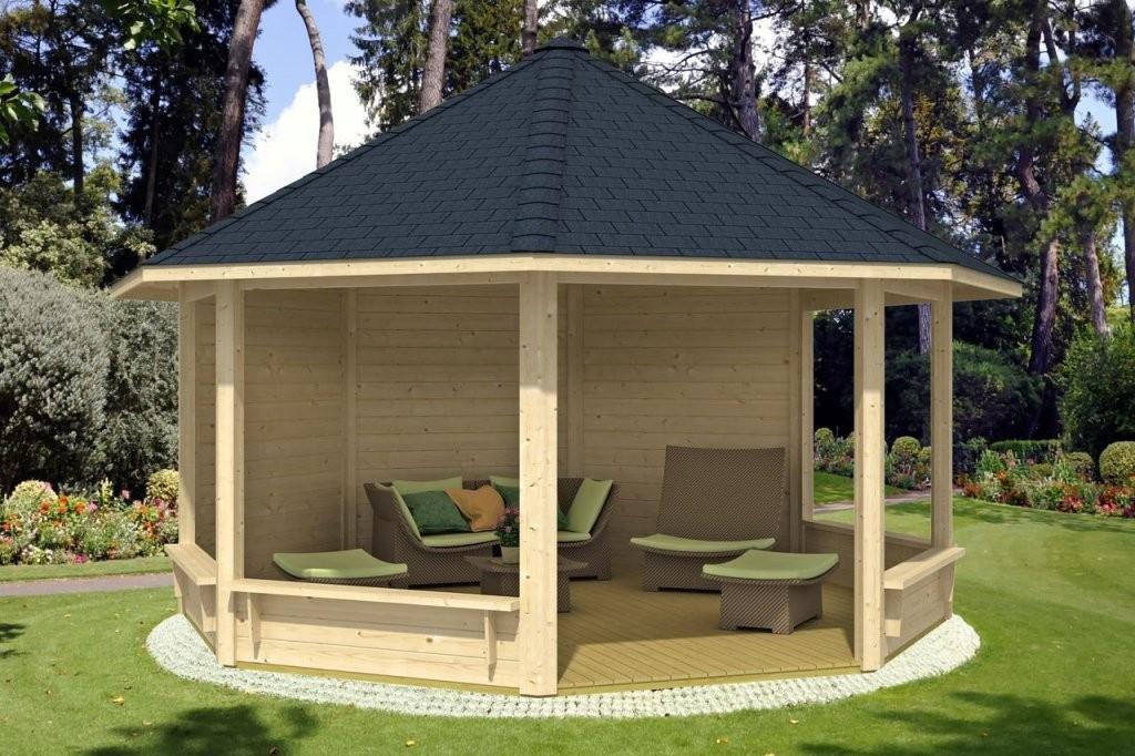 Runden Pavillon Selber Bauen Mit Sessel Möbliert  Garten  Garten von Pavillon Selber Bauen Flachdach Photo