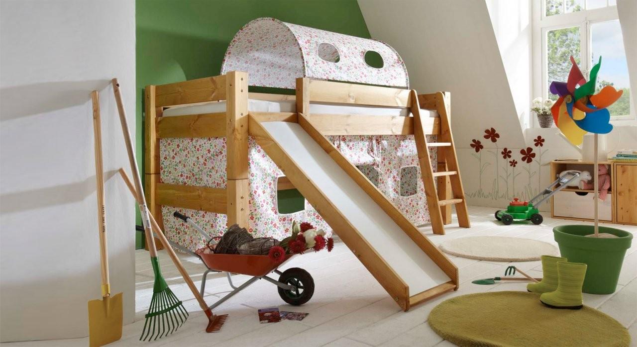 Rutschenhochbett Aus Kiefer  Kids Dreams  Bettenat von Kinderhochbett Mit Rutsche Günstig Kaufen Bild
