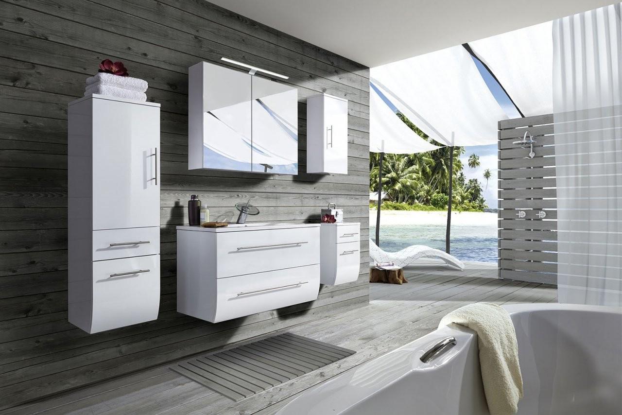 Sam® Badmoebel Set Weiß Hochglanz 5Tlg Waschtisch 90 Cm Zagona von Badmöbel 90 Cm Breit Bild