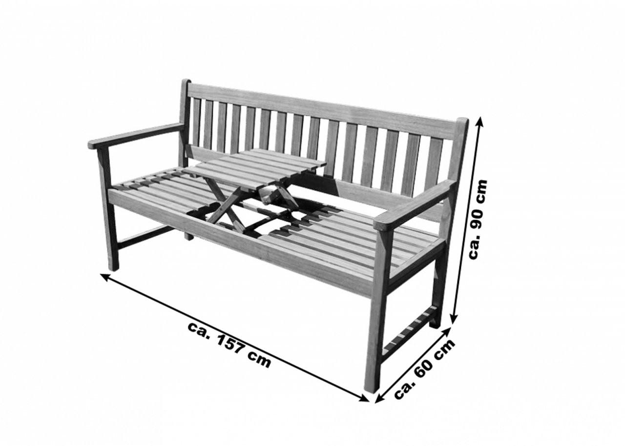 Sam® Gartenbank Akazie 157 Cm 3Sitzer Sitzbank Laura von Holzbank Mit Integriertem Tisch Photo