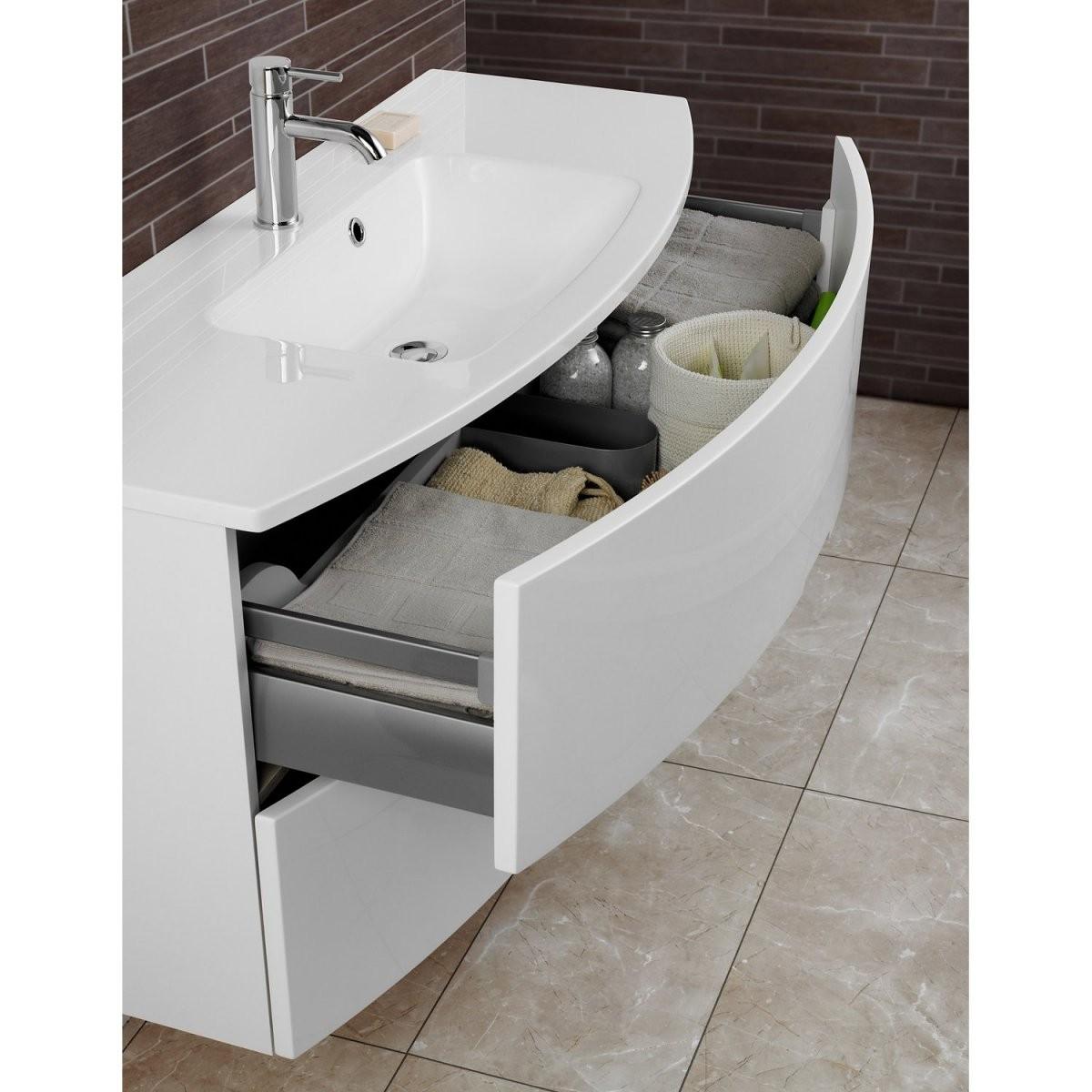 Scanbad Badmöbelset 90 Cm Mit Spiegelschrank Modern Weiß Hochglanz von Badmöbel 90 Cm Breit Bild