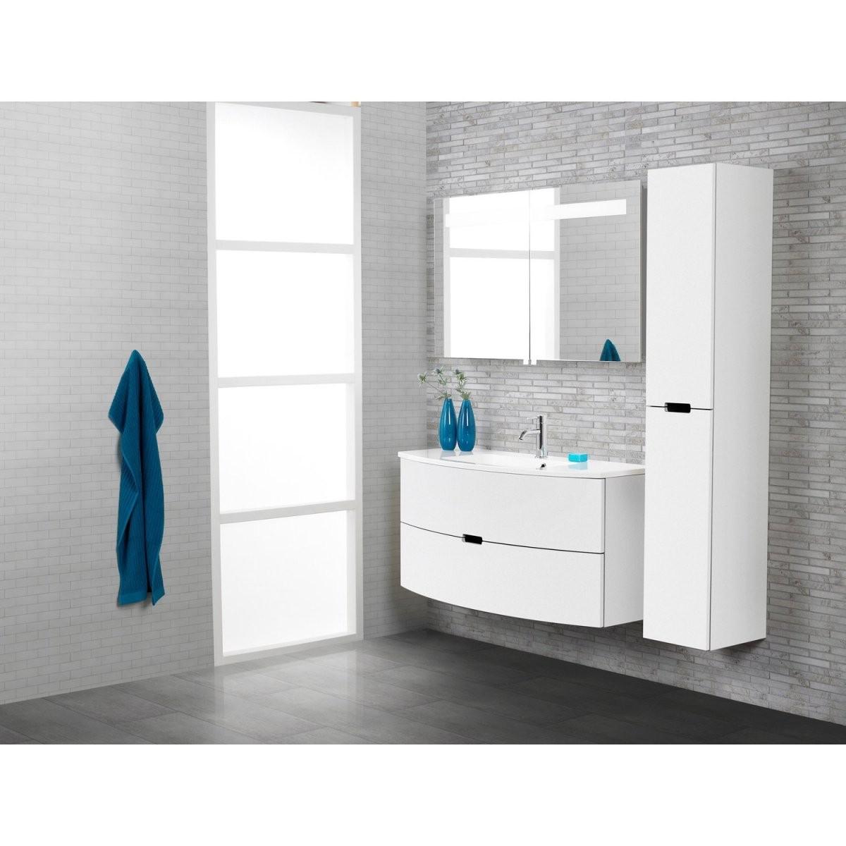 Scanbad Badmöbelset 90 Cm Mit Spiegelschrank Modern Weiß Hochglanz von Badmöbel 90 Cm Breit Photo