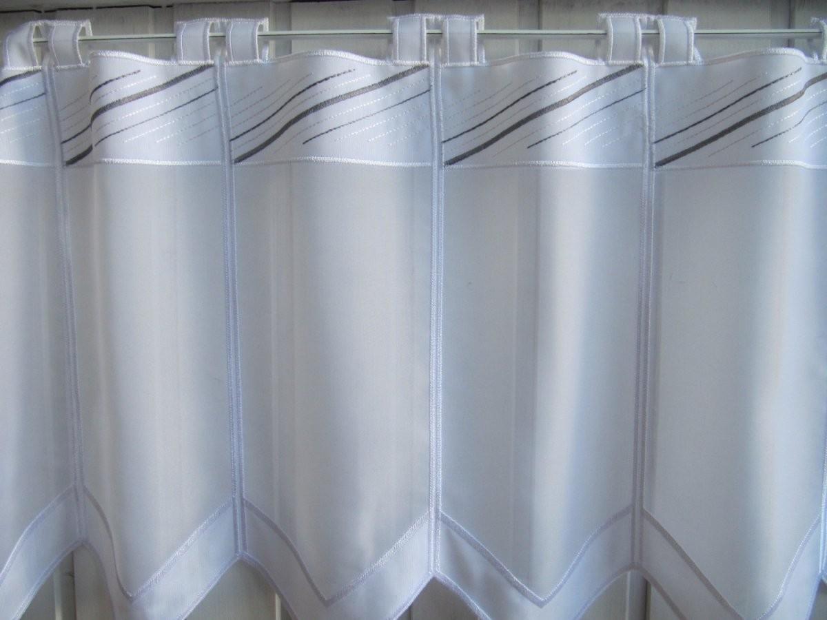 Scheibengardine Weiß Grau Modern Stickmuster 60 Cm Hoch  Kaufen Bei von Scheibengardinen Meterware 60 Cm Hoch Photo