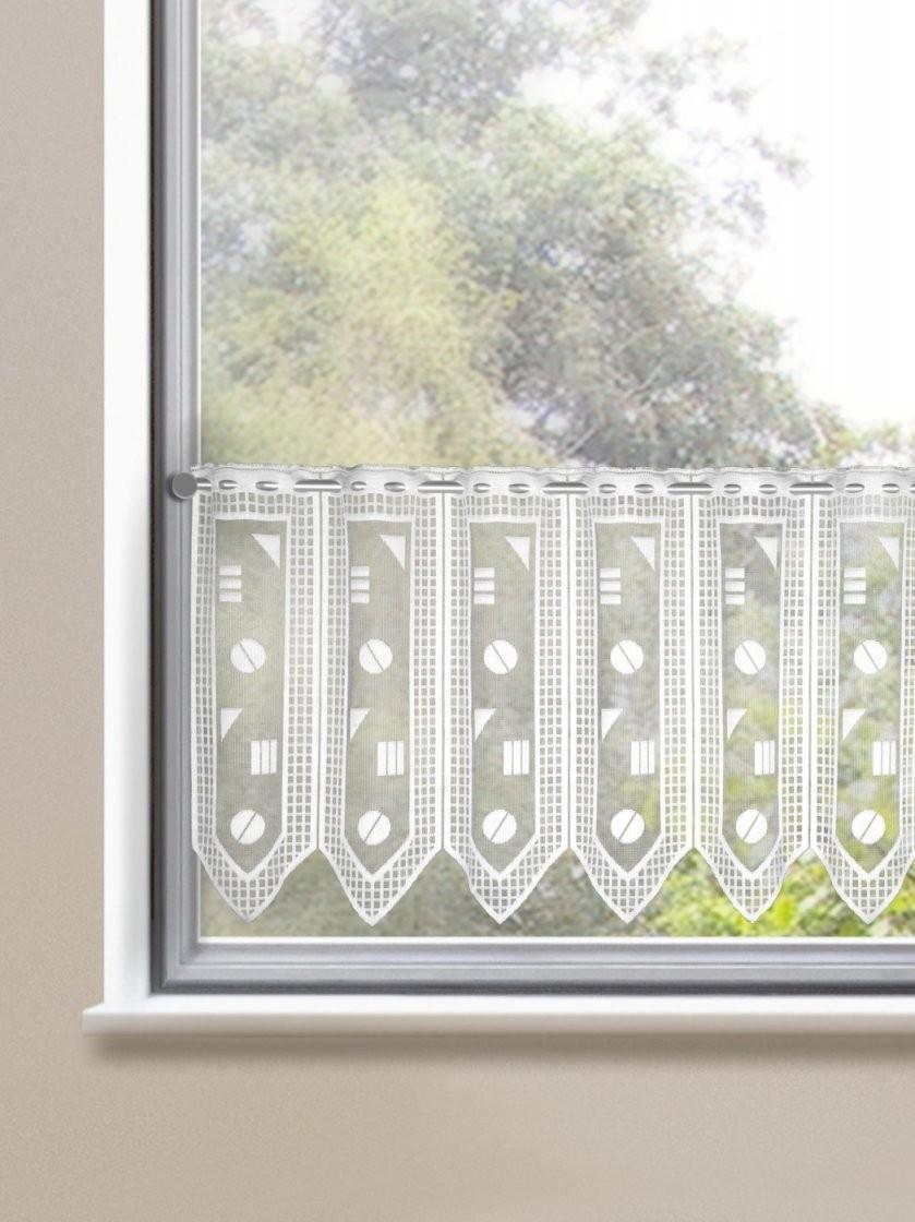 Scheibengardinen Graphisches Muster  Gardinen Outlet von Scheibengardinen 50 Cm Breit Bild