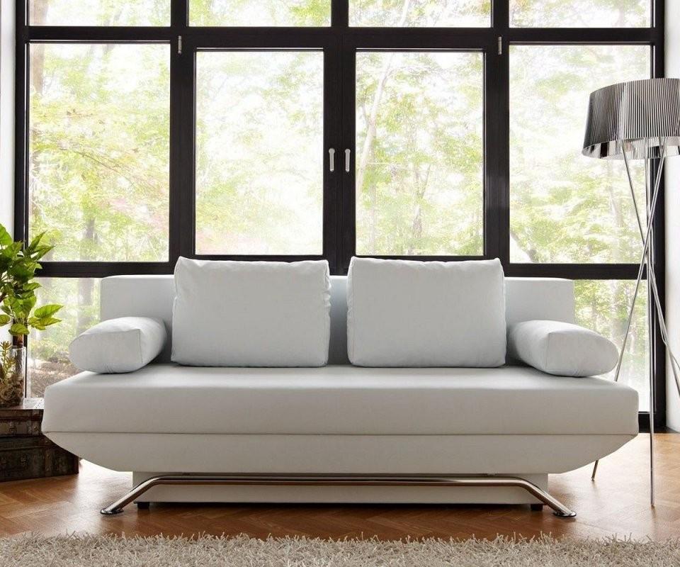 Schlafsofa Cady 200X90 Cm Weiss Couch Mit Schlaffunktion Möbel Sofas von Couch Mit Bettkasten Und Schlaffunktion Photo