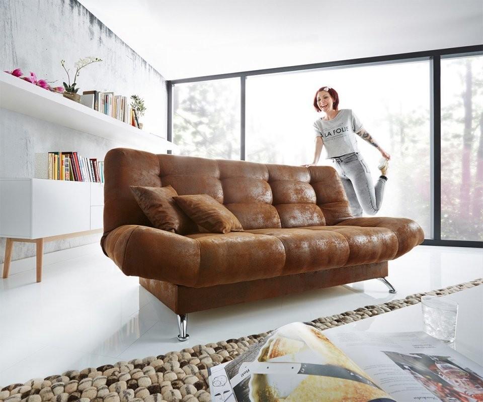 Schlafsofa Viol 190X90 Cm Braun Antik Optik Bettkasten Möbel Sofas von Couch Mit Bettkasten Und Schlaffunktion Bild
