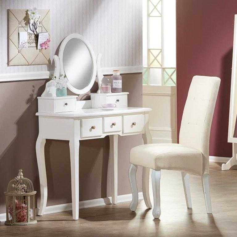 Schminktisch Weiß  5 Schubladen  Spiegel Preiswert  Dänisches von Schminkspiegel Mit Beleuchtung Ikea Bild