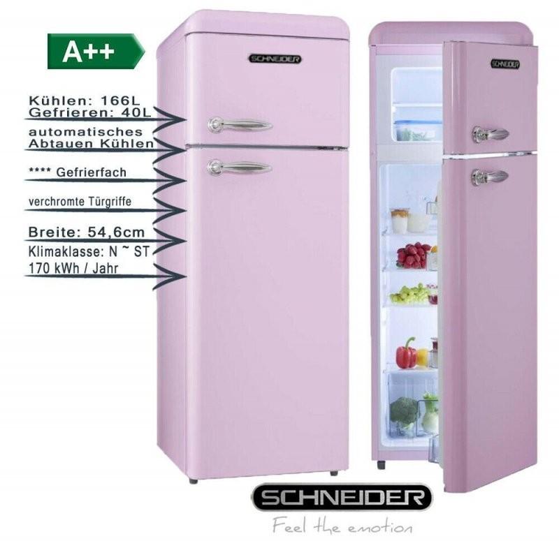 Schneider Retro Kühlgefrierkombination Pink 206 Liter A 55Cm Breit von Kühlschrank 55 Cm Breit Bild
