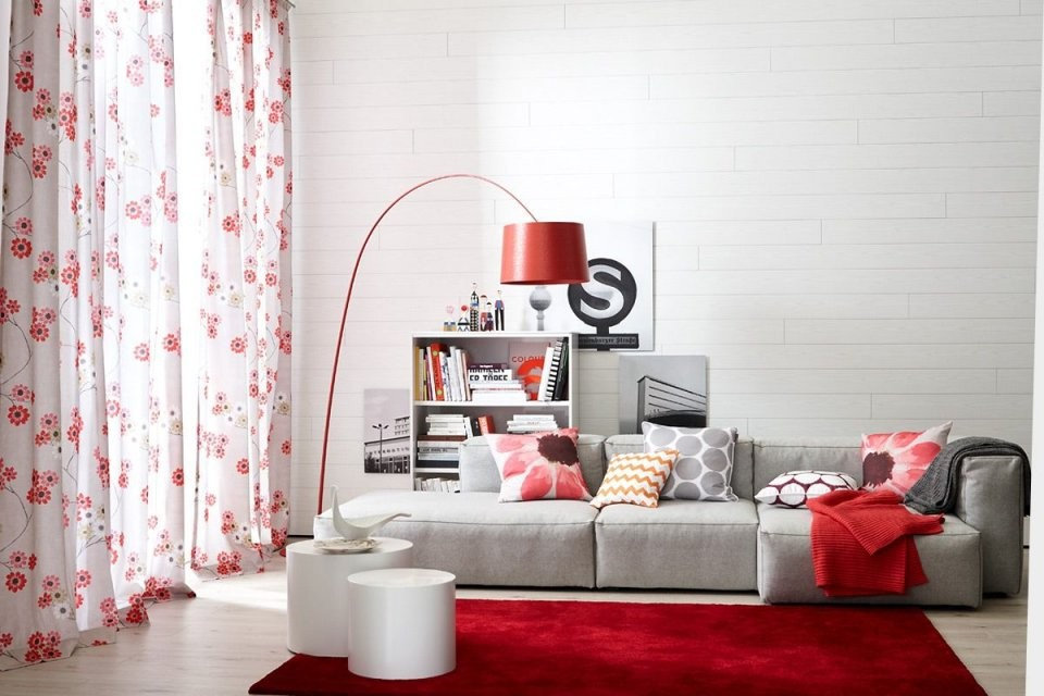 Schöner Wohnenkollektion  Wohnzimmer In Grau Und Rot  Living von Gardinen Wohnzimmer Schöner Wohnen Photo
