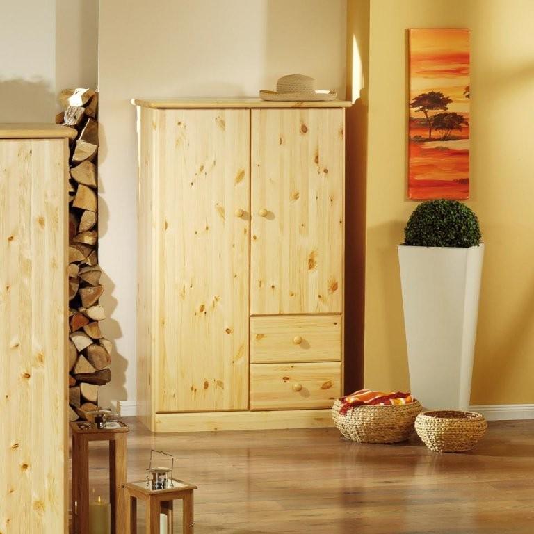Schrank Für Wäsche (2Türig Kiefer Natur Lackiert) Preiswert von Kiefer Möbel Natur Lackiert Photo