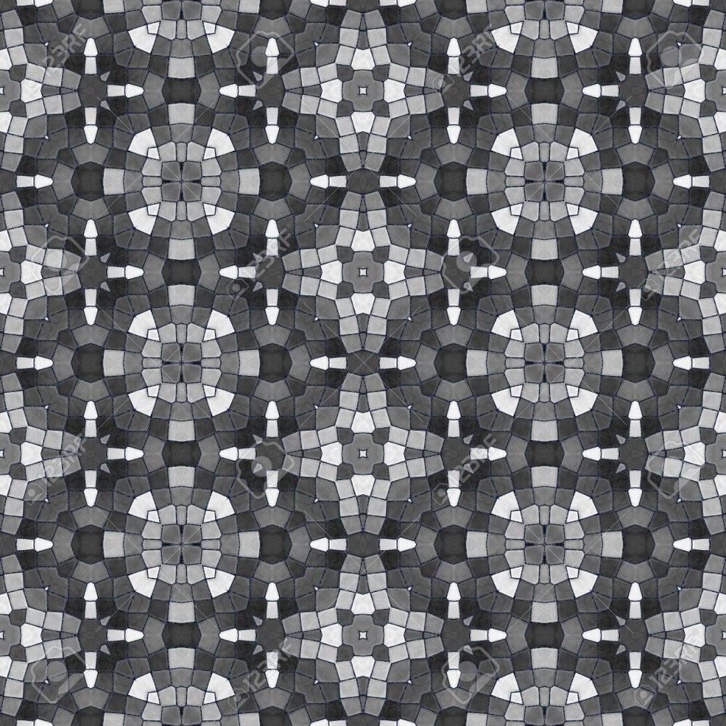 Schwarz Weiß Kaleidoskopischen Nahtlose Fliesen Muster Lizenzfreie von Fliesen Schwarz Weiß Muster Photo